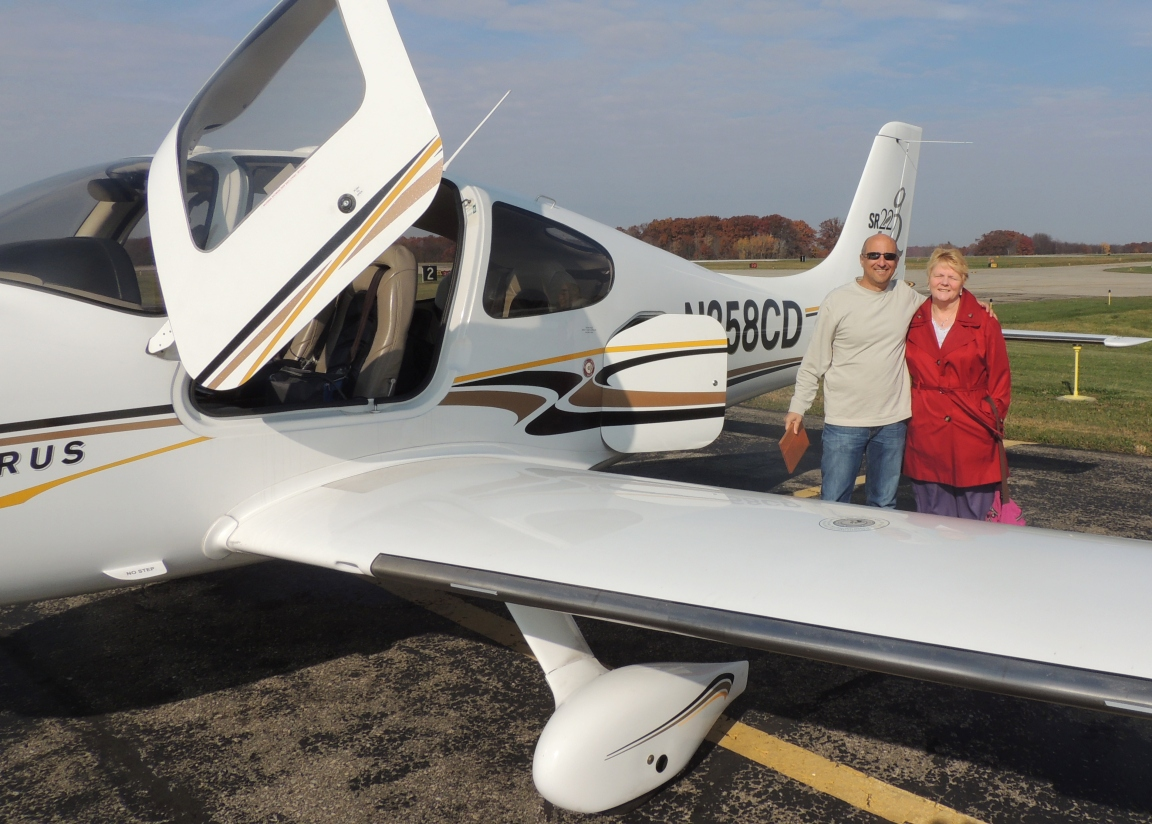 Adeline with Rob Schwartz (her Pilot to Ann Arbor MI)