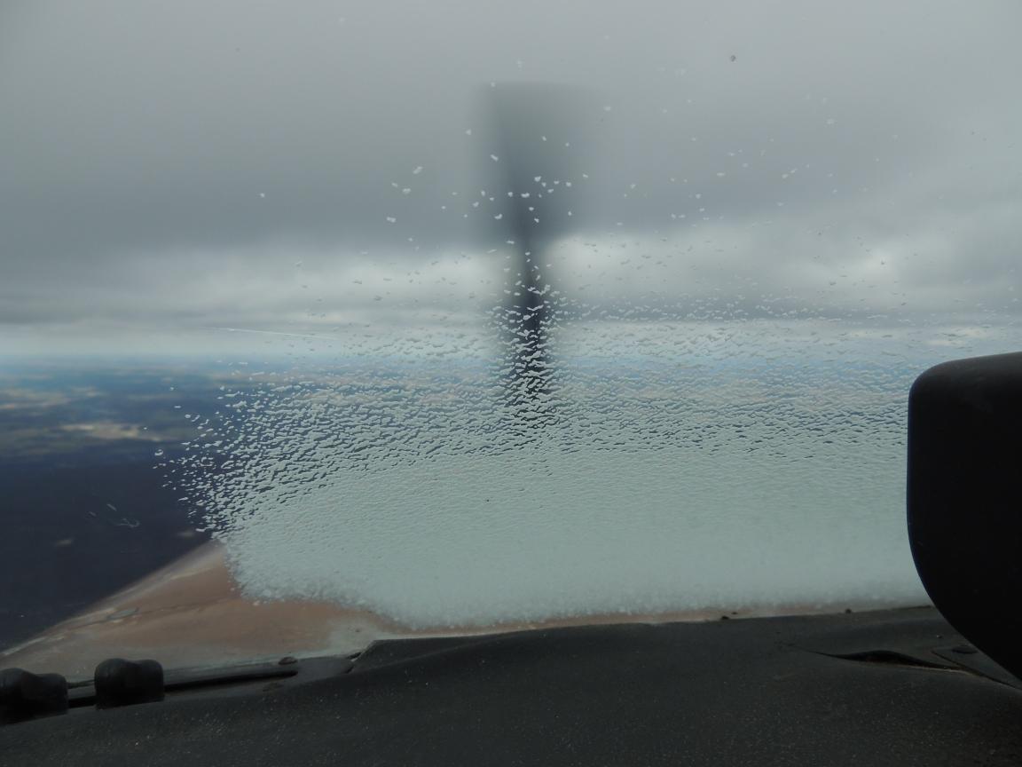 A little ice left on the window