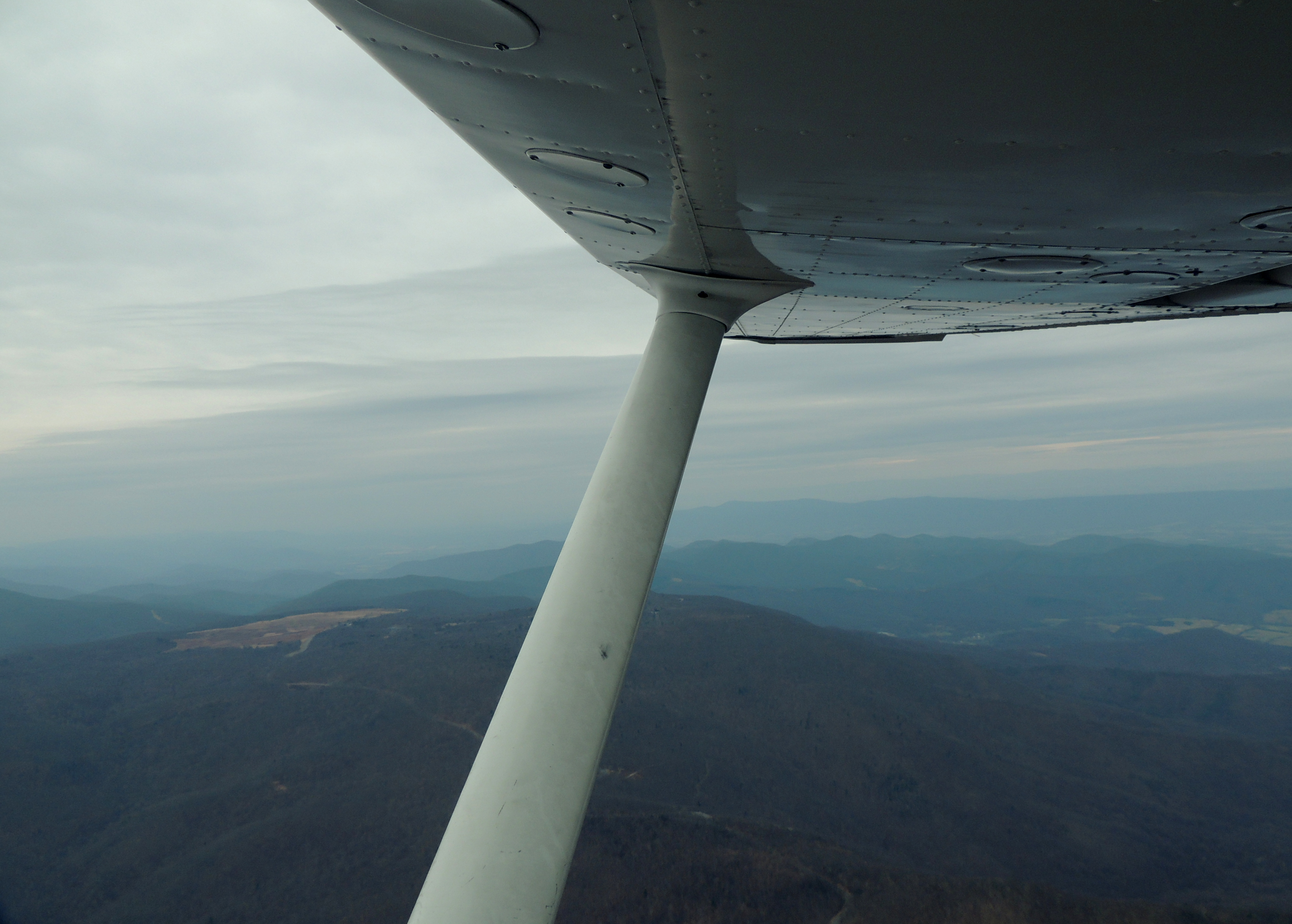 Flying over the Blue Ridge Mountains looking at Big Meadows