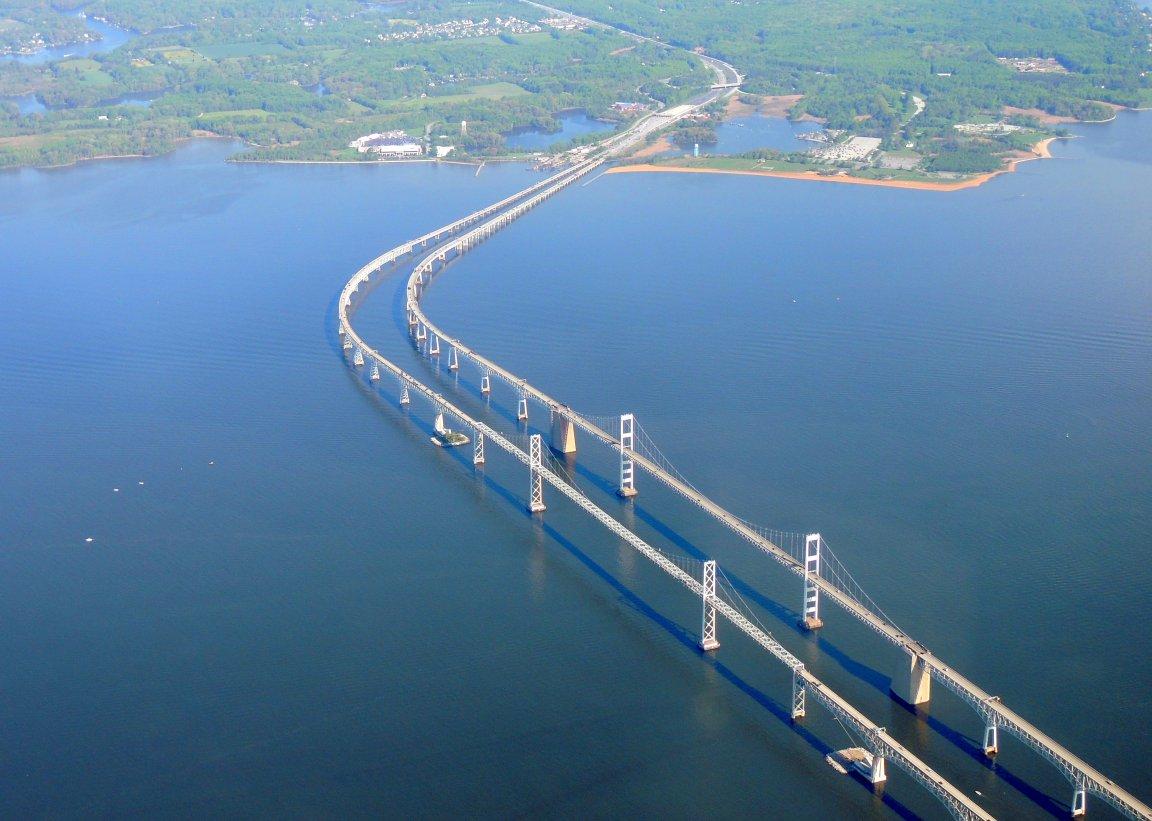 Flying over the Twin Bay Bridges (Chesapeake Bay) Maryland