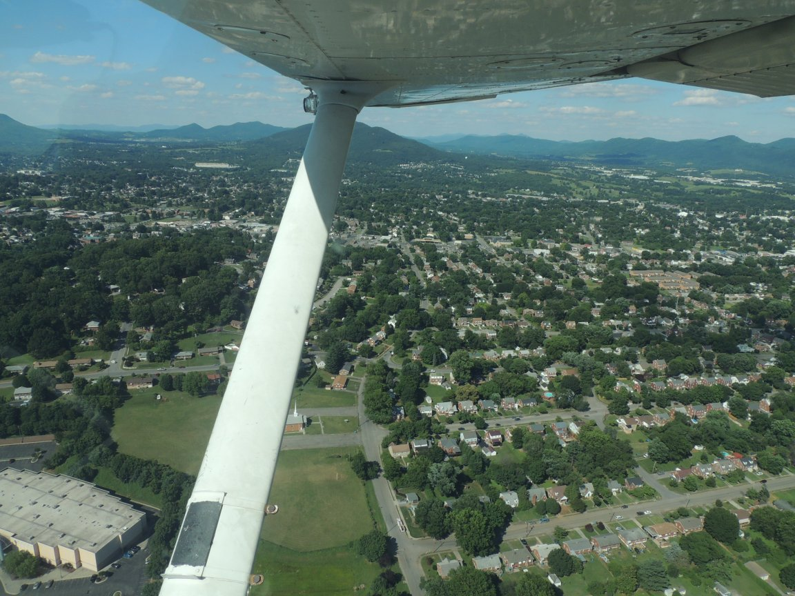 On approach to land at Roanoke VA