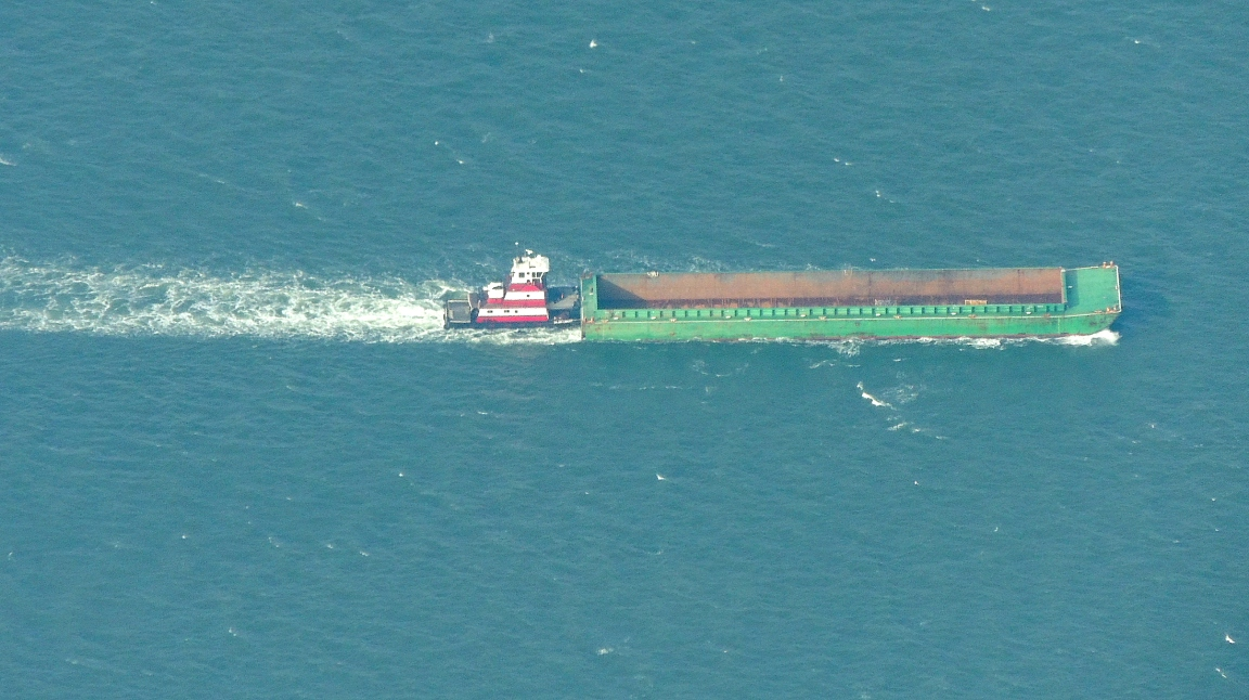 Barge being pushed on the Chesepeake