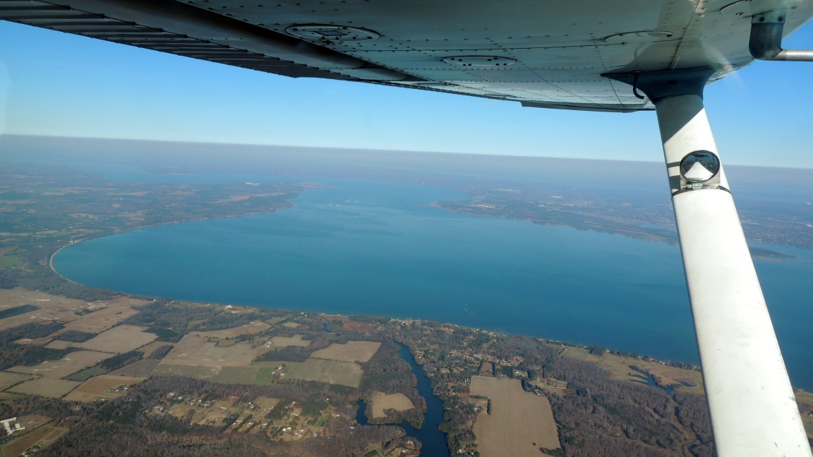 Looking north over the James River as it nears the Atlantic Ocean